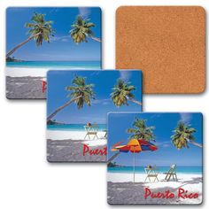 """Lenticular coaster with palm trees, umbrella, and lawn chair appear on a tropical Hawaiian beach, flip 