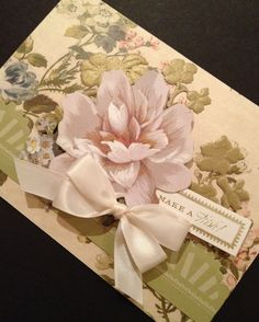 Shabby and Elegant Floral Birthday Card with Anna Griffin Papers