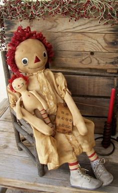 Primitive Antiqued Grungy Raggedy Ann Art Doll & Baby Annie featuring Antique Baby Gown & Shoes