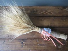 Rustic and Romantic - this dried wheat bouquet wrapped in ribbon, lace, and burlap is ideal for a country wedding. The dried wheat will last as a memento from your special day forever. Bouquet Wrap, Wooden Art, Special Day, Rustic Wedding, Vintage Items, Burlap, Restoration, Boyfriend, Ribbon