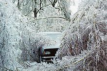An ice storm is a type of winter storm characterized by freezing rain, also known as a glaze event or in some parts of the United States as a silver thaw. They occur when a layer of warm air is between two layers of cold air. The U.S. National Weather Service defines an ice storm as a storm which results in the accumulation of at least 0.25-inch (0.64cm) of ice on exposed surfaces. From 1982 to 1994, ice storms were more common than blizzards and averaged 16 per year.