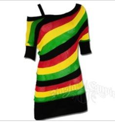 Rasta, stripe, unbalanced tunic top