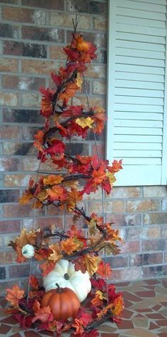 front porch decor for fall pumpkins fall leaves, could use tomato cage for this, definitely doing this #Fall #Fall Decor
