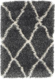 Black Luxe Trellis Shag Area Rug