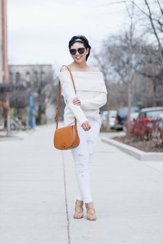 RD's Obsessions: Off the Shoulder Sweater || White Distressed Jeans || Monogram Crossbody Bag || Lace-Up Sandals || Winter Whites outfit