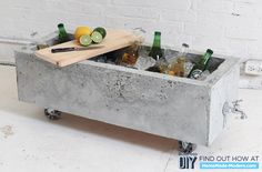 A DIY Concrete Ice Chest Perfect For Your Summer Festivities. Or planter? Would that work?