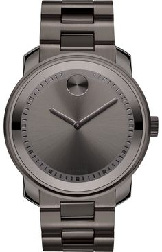 Movado Bold - Large Movado BOLD watch, 42.5 mm gunmetal gray ion-plated stainless steel case, gunmetal gray dial with matching sunray dot, hands and etched minute track, gunmetal gray ion-plated stainless steel link bracelet with push-button deployment clasp, K1 crystal, Swiss quartz movement, water resistant to  30 meters.
