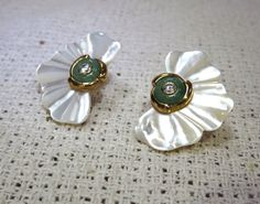 Kai Yin Lo White Mother of Pearl Green Jade/Jadeite Diamond Earrings KYLO by VintageChicNSleek on Etsy