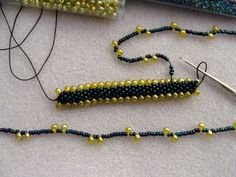 Bead Crochet: WIP Wednesday 8/13/08. Size 11 seed bead, size 8 drops, size 12 thread