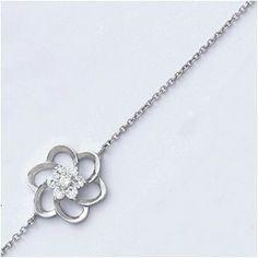 Bracelet arg forme fleur oxydes blancs
