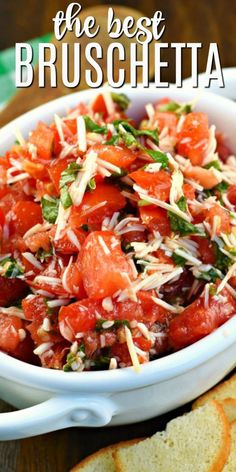 Easy and Fresh Bruschetta Recipe - Shugary Sweets - Fresh tomatoes and garden-grown basil come together to create the most delicious and EASY Bruschetta recipe. Use bagel chips or toasted bread to dip, or add this mixture to pasta with cheese! Easy Bruschetta Recipe, Homemade Bruschetta, Bruchetta Recipe, Bruschetta Chicken, Grilled Chicken, Meat Appetizers, Appetizer Recipes, Dinner Recipes, Recipes