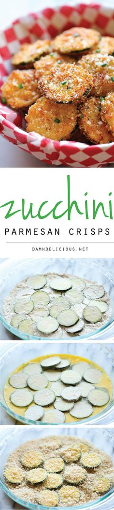 Zucchini Parmesan Crisps - A healthy snack thats incredibly crunchy, crispy and addicting! Reminds me of childhood. Fried or baked zucchini was a staple in my house