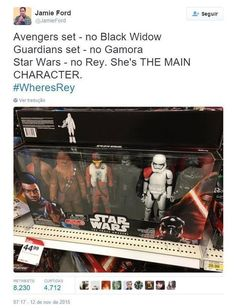 """There's been a recent outcry over the lack of Rey action figures in Star Wars: The Force Awakens sets, with people using the hashtag #WheresRey to register their disapproval. 