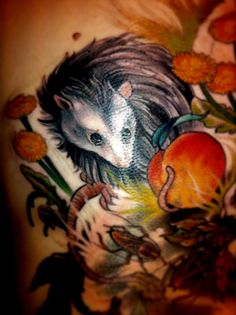Opossum by Ryan Madson at Scapegoat Tattoo in Portland, Oregon.