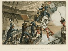 British Sailors Boarding a Man of War. Published 4 June 1815. National Maritime Museum.