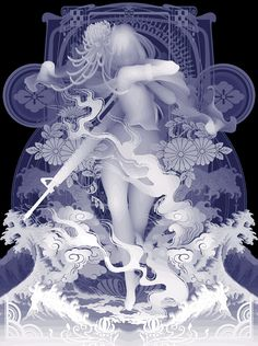 "Decoration Armament (I Mow Down All Things Which Obstruct My Way) - by Kazuki Takamatsu - acrylic, acrylic gouache, medium, chalk, giclee on tarpaulin (51.3"" x 38.19"") - Corey Helford Gallery - Los Angeles"