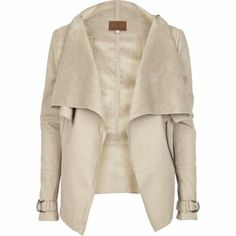 { Beige leather look waterfall jacket }