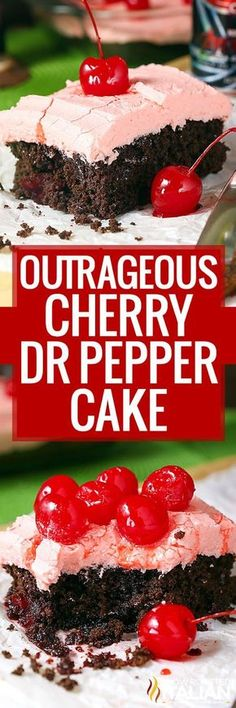 Cherry Dr Pepper Dump Cake is a incredibly flavorful cherry chocolate dump cake recipe with just 5 ingredients! Cherry Dr Pepper Dump Cake is a incredibly flavorful cherry chocolate dump cake recipe with just 5 ingredients! Dump Cake Recipes, Dessert Recipes, Frosting Recipes, Appetizer Recipes, Easy Desserts, Delicious Desserts, Homemade Desserts, Dr. Pepper, Chocolate Cherry Cake