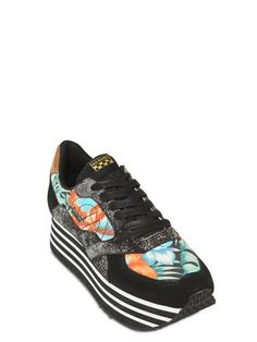NO NAME - 40MM CANVAS FLORAL SUEDE SNEAKERS - LUISAVIAROMA