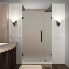Aston Nautis 72 x 31 Completely Frameless Hinged Shower Door Frosted Glass