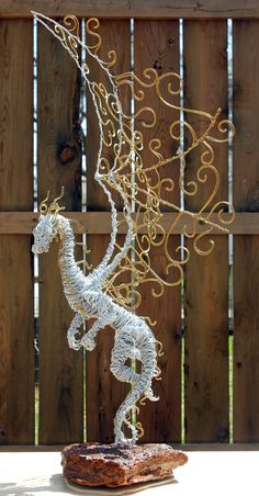(JPEG Image, 2530 × 4856 pixels)… The heritage in the island country of Japan paints a transparent image of the happy Sculpture Metal, Abstract Sculpture, Wire Sculptures, Fantasy Dragon, Dragon Art, Fantasy Wire, Creation Deco, 3d Pen, Art Du Fil