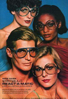 paco camino: Vintage Ad: Renauld React-A-Matic Sunglasses, 1977 Retro Ads, Vintage Advertisements, Vintage Ads, Vintage Posters, Lauren Hutton, Patti Hansen, 70s Fashion, Vintage Fashion, 70s Aesthetic