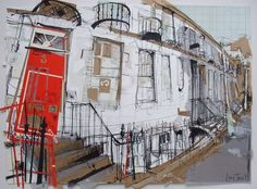 Malta Terrace, Stockbridge Collage with Ink, 2015 x A local commission made for a Christmas present, which I'm assured was very happily received. The old Scottish Ordnance Survey map that I used as collage was of the area of Scotland which. Architecture Exam, Ordnance Survey Maps, Photocollage, Building Art, A Level Art, Urban Sketchers, Built Environment, Urban Landscape, Urban Art