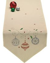"DII Christmas Holiday Embroidered Table Runner 14 x 70"", Ornaments"