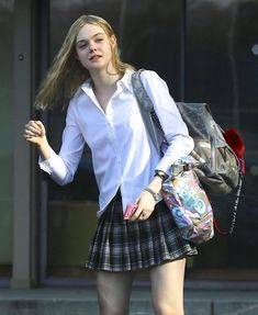 """Elle Fanning Photos - """"Maleficent"""" star Elle Fanning steps out in Los Angeles, California on February Elle, wearing a short, plaid skirt, was sporting a small bandage on her knee. - Elle Fanning Steps Out in LA 90s Fashion, Korean Fashion, Fashion Outfits, Fashion Hacks, Classy Fashion, School Fashion, French Fashion, Work Fashion, Spring Fashion"""