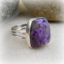 Charoite Gemstone Sterling Silver Ring ,sz 7, New age,wicca