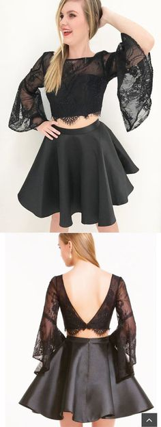New 2 Pieces Black Lace Horn Sleeves Backless Short Homecoming Dress Prom Cute Dresses Pretty Homecoming Dresses, Elegant Prom Dresses, Dresses Short, Prom Dresses 2018, Formal Evening Dresses, Dresses For Teens, Dance Dresses, Ball Dresses, Pretty Dresses