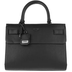 Guess Handle Bag - Cate Satchel Black - in black - Handle Bag for... (£129) ❤ liked on Polyvore featuring bags, handbags, black, guess handbags, print handbags, satchel handbags, print purse and handle handbag