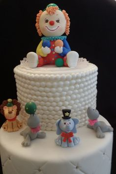 Cute Circus Cake Topper With a Big Clown and with Circus animals a Lion, Elephant and 2 Seals Perfect Circus Party or Baby Shower Decorations for any Circus theme Birthday Great as Cake Topper and cen
