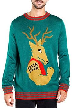 25d02c49858662 Great for Men s Funny Weightlifting Ugly Christmas  sweater - Gain Deer Funny  Xmas Sweater Mens