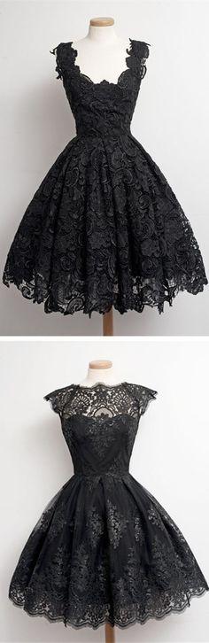 1950s Vintage Little Black Lace Prom Dresses,lace Homecoming Dresses,black Party Dress,vintage dresses, the Little Black dresses,1950s dresses,1940s dresses, short homecoming dresses,short prom dresses