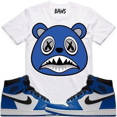 488bca440e0734 Royal Baws White Shirt by BAWS sneaker tee shirts to match the Air Jordan 1  High OG Royal is available on our online store.