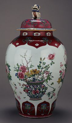 One of a Pair of Lidded Vases -- Unknown Maker -- about 1730 -- Hard-paste porcelain, enameled decoration