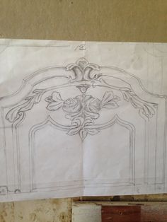 Hand drawn design for custom hand carved curved boiserie corner panel. Auffrance.com