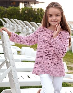 kids Kids 69 book of Spring / Summer from KATIA Crochet Girls Dress Pattern, Baby Girl Crochet, Crochet For Kids, Crochet Patterns, Gilet Crochet, Crochet Jumper, Crochet Jacket, Crochet Baby Sweaters, Crochet Baby Clothes