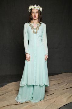 saumya gupta/mint-blue tunic&pallazos