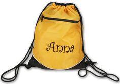 Gold Monogrammed Drawstring Backpack