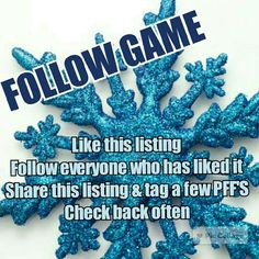 Follow Game!!!!! Let's all increase our followers!  - Like this listing - Follow everyone who has also like this listing - Share this listing and tag a few of your PFF'S - Check back often to follow new people   Thanks to all who participate! Other