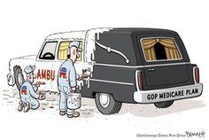 The GOP Medicare plan.  By Clay Bennett #GoComics #Politics #Healthcare