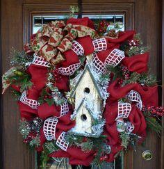 30 Red Burlap BIRDHOUSE CHRISTMAS WREATH by decoglitz on Etsy, $125.00