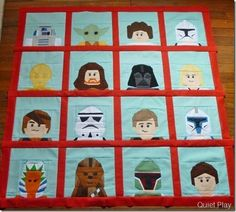 Simply the coolest little boy quilt ever - I hope I can make one for the boys and finish while they still love Legos - Lego Star Wars Paper Pieced Blocks from Quiet Play