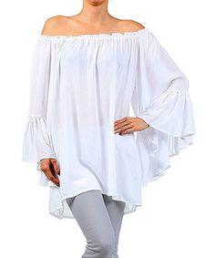 White Off-Shoulder Tunic - Women