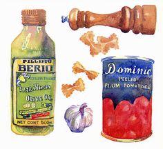 Sarah Bell - Olive oil, tin, pasta etc