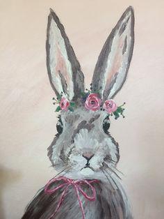 Bunny Acrylic original Painting, Bunny with flowers, whimsical, nursery decor, easter/spring decor Bunny Painting, Spring Painting, Acrylic Painting Animals, Spring Drawing, Easter Paintings, Animal Paintings, Rabbit Art, Bunny Art, Easter Art