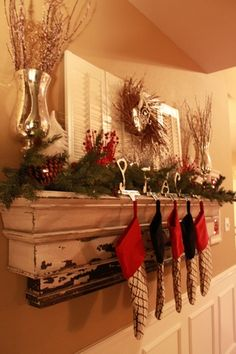 Christmas mantle w/o fireplace! Love the shutters!