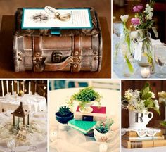 Old Books, Luggage, and Glass bottles make lovely centerpieces Travel Centerpieces, Vintage Wedding Centerpieces, Wedding Decorations, Table Decorations, Dream Wedding, Wedding Day, Wedding Dreams, Wedding Stuff, Travel Themes